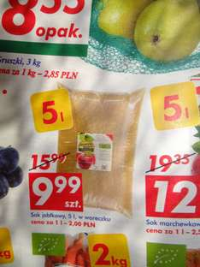 Sok jabłkowy, 5l, w woreczku od 29.09 @Auchan