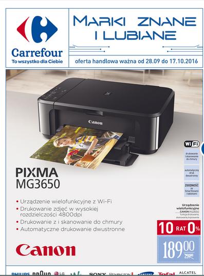 Urządzenie wielofunkcyjne Canon Pixma MG 3650 za 189zł @ Carrefour