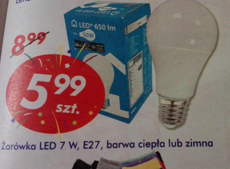 """,,Żarówka"""" LED 7W E27 650lm 5.99zł AUCHAN"""