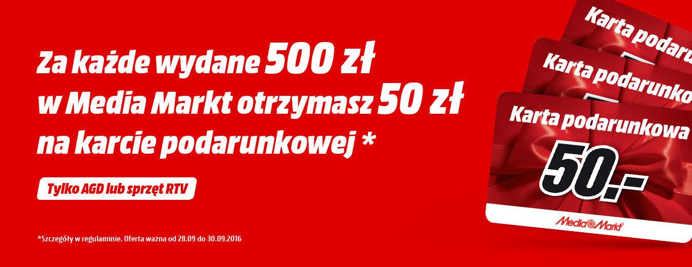 Za każde wydane 500zł - bon 50zł na kolejne zakupy @ Media Markt