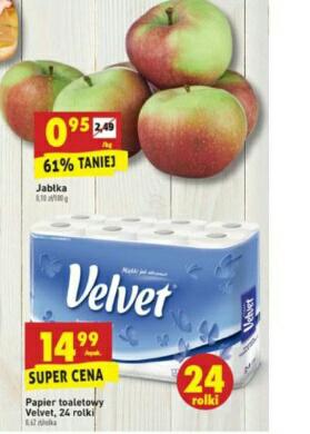 Tanie wycieranie 24 rolki za 14.99 zł i jabłka kg 0.95 zł @Biedronka