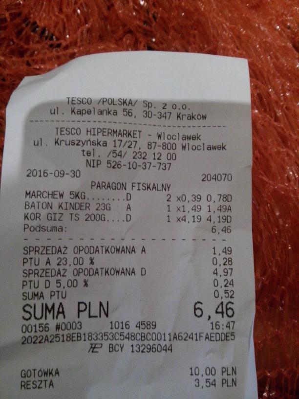 Marchew 5kg za 0.39gr Tesco