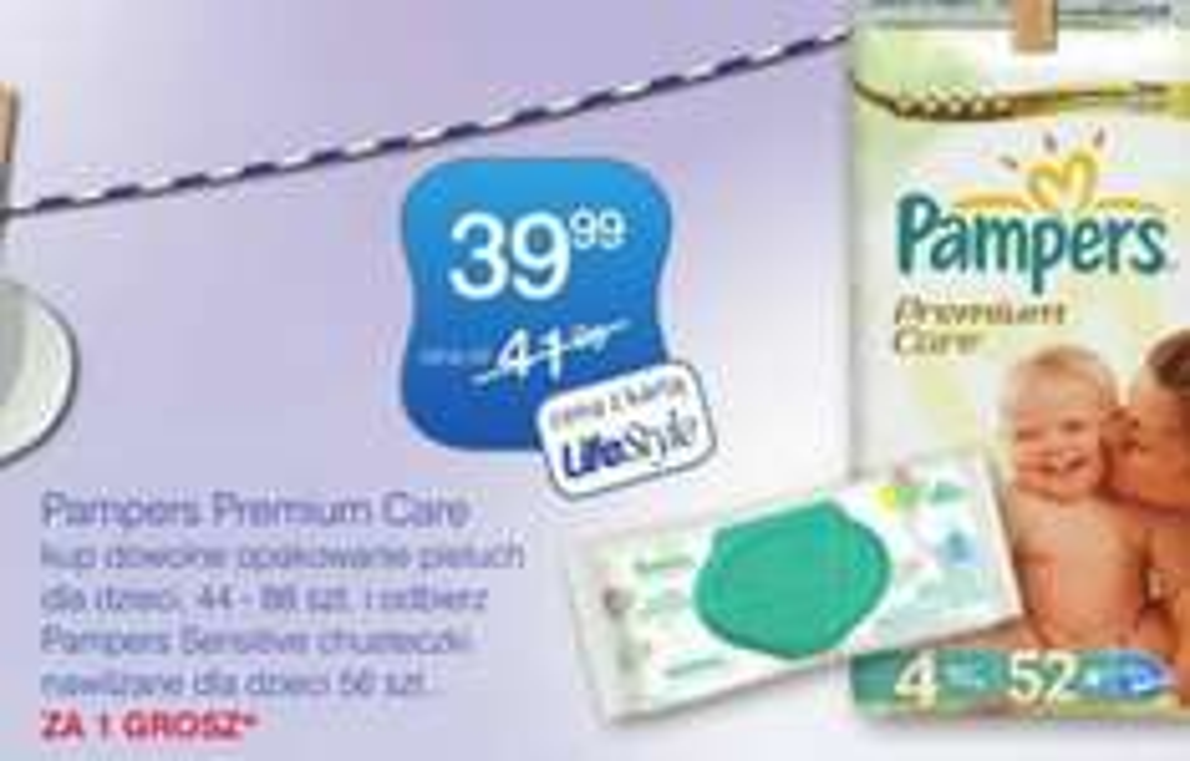 Pampers Premium 39,99 + chusteczki Pampers Sensitive ZA 1 Grosz
