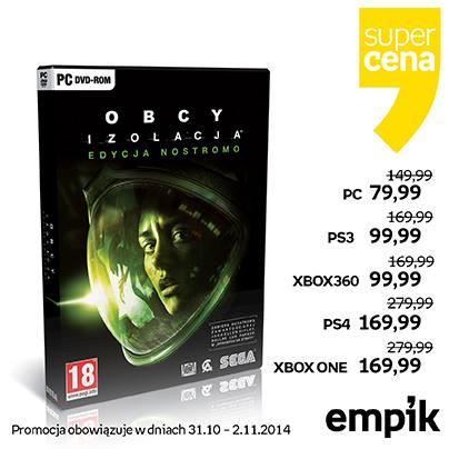 Obcy Izolacja (Alien Isolation) na PC, PS3. X360. PS4 oraz Xbox One od 79,99zł!!!! @ Empik