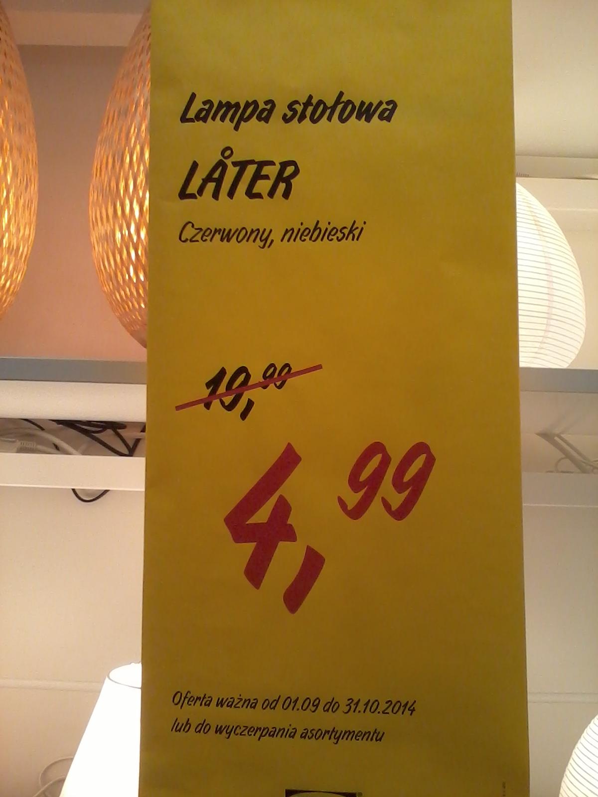 Lampka stołowa LATER za 4,99zł @ Ikea