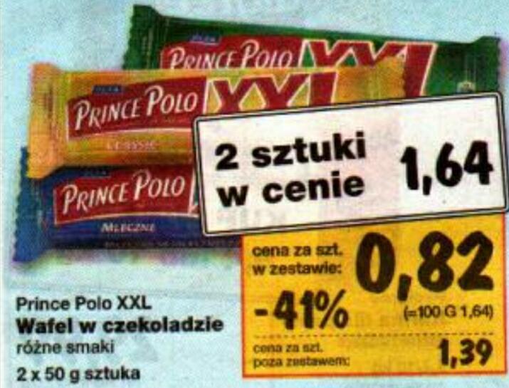 Prince Polo XXL za 0.82 przy zakupie 2 szt. KAUFLAND