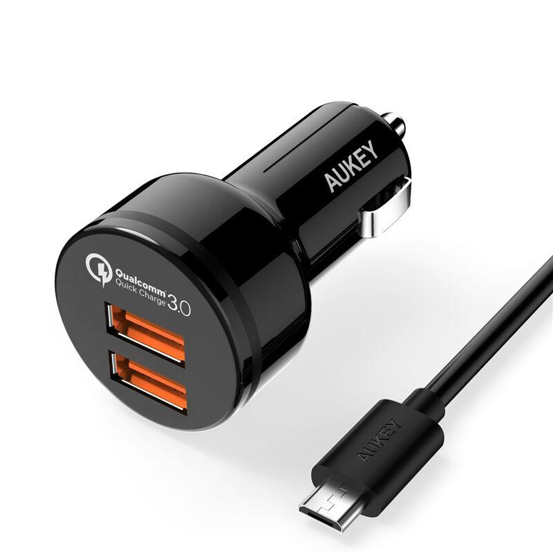 Ładowarka samochodowa AUKEY CC-T8 2 porty Quick Charge 3.0 + kabel 1m