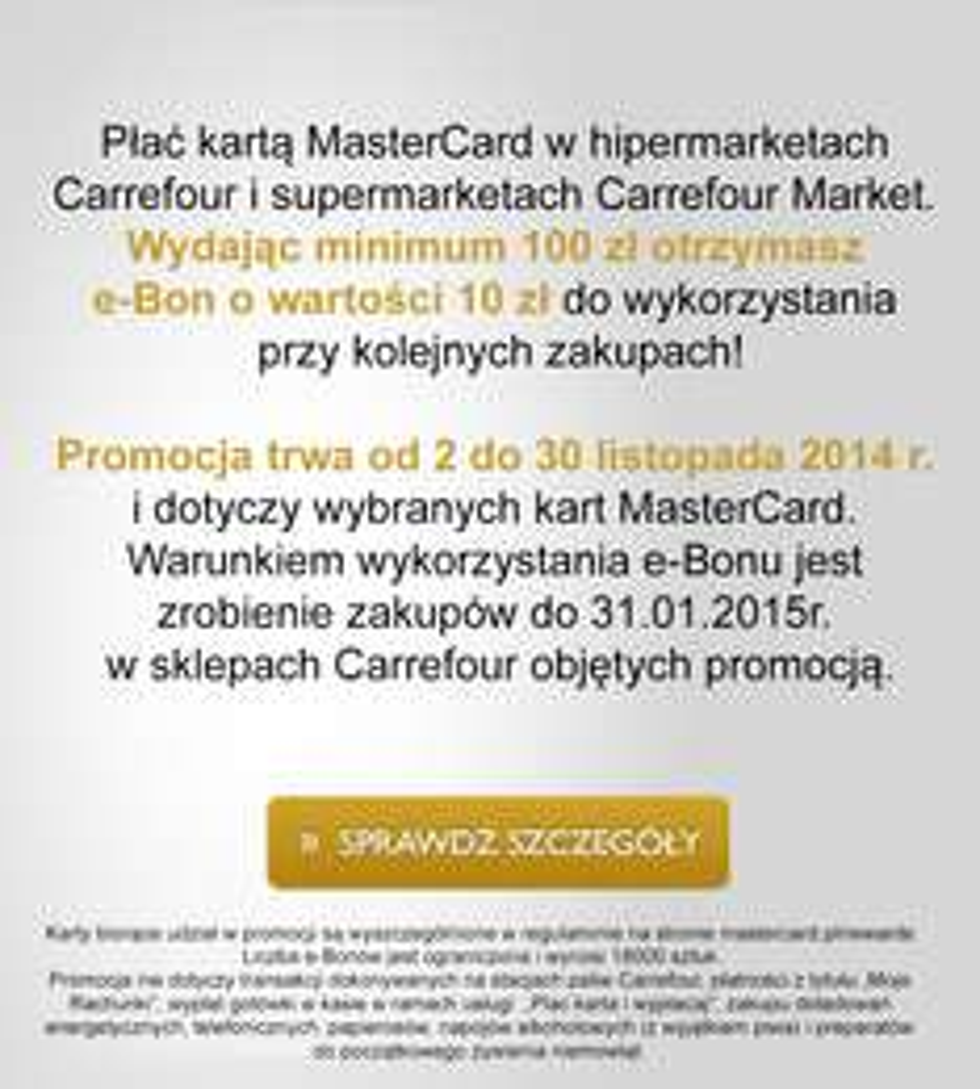 10zł w postaci bonu za płatność kartą MasterCard @ Carrefour