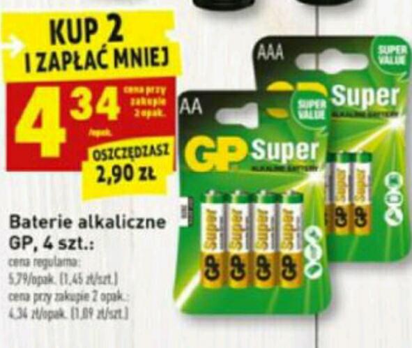 Baterie alkaliczne GP 4 szt za 4.34zł przy zakupie 2 opakowań BIEDRONKA
