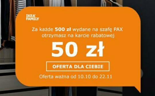 Za każde 500 zł wydane na szafę PAX otrzymasz na karcie rabatowej 50 zł @Ikea Family