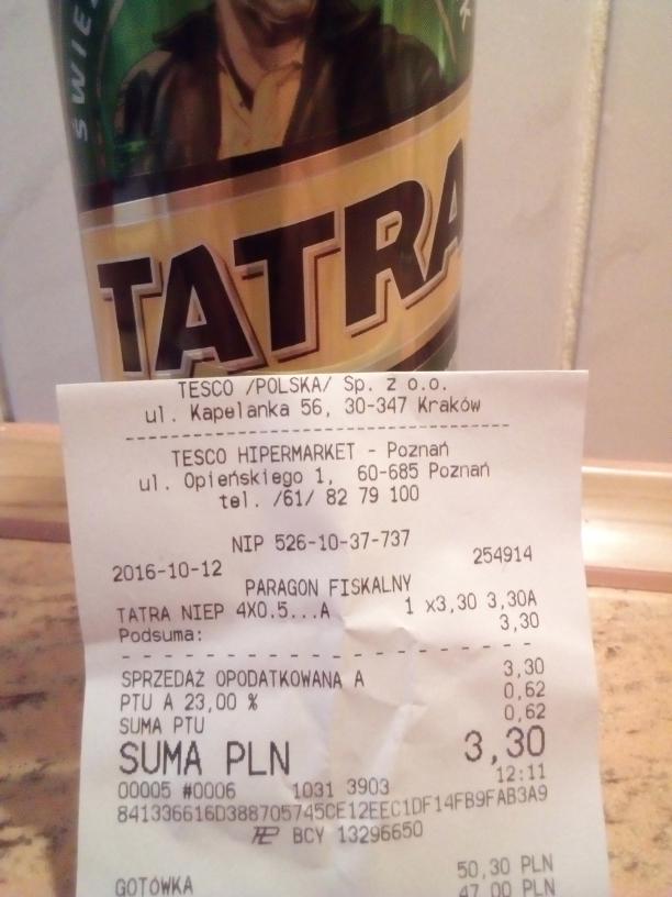 Piwo Tatra-4×0.5l Tesco Opieńskiego Poznań