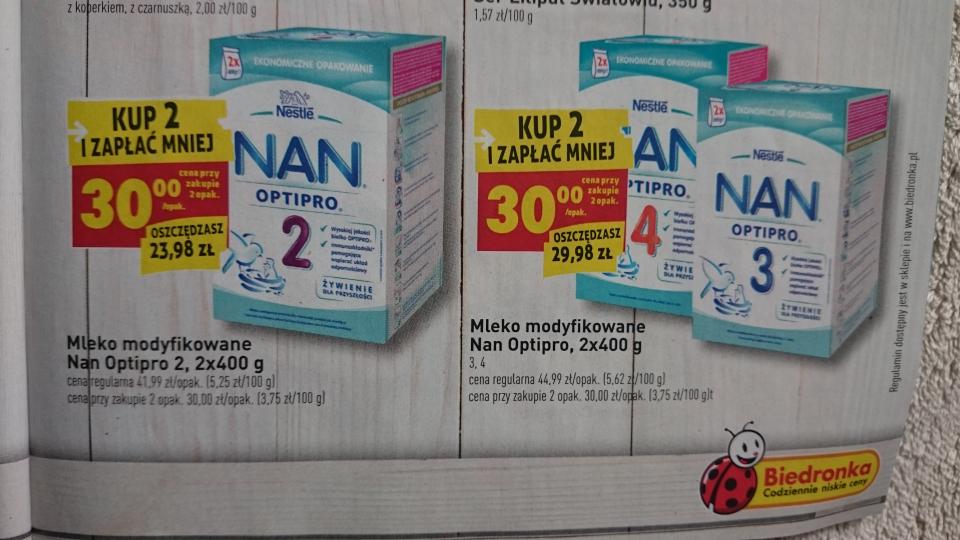 Mleko NAN 2, NAN 3 i NAN 4 - 800g za 30zł BIEDRONKA