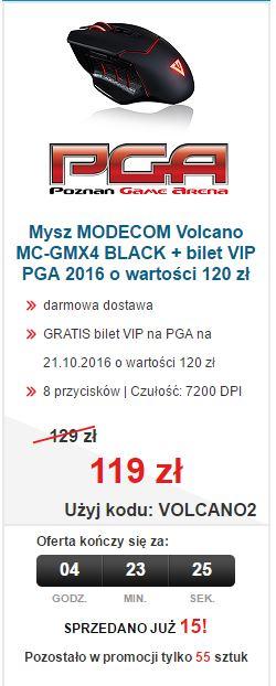 Mysz Modecom Volcano MC-GMX4 + bilet na targi PGA (wartość 120zł - VIP DAY) za 119zł @ Morele.net