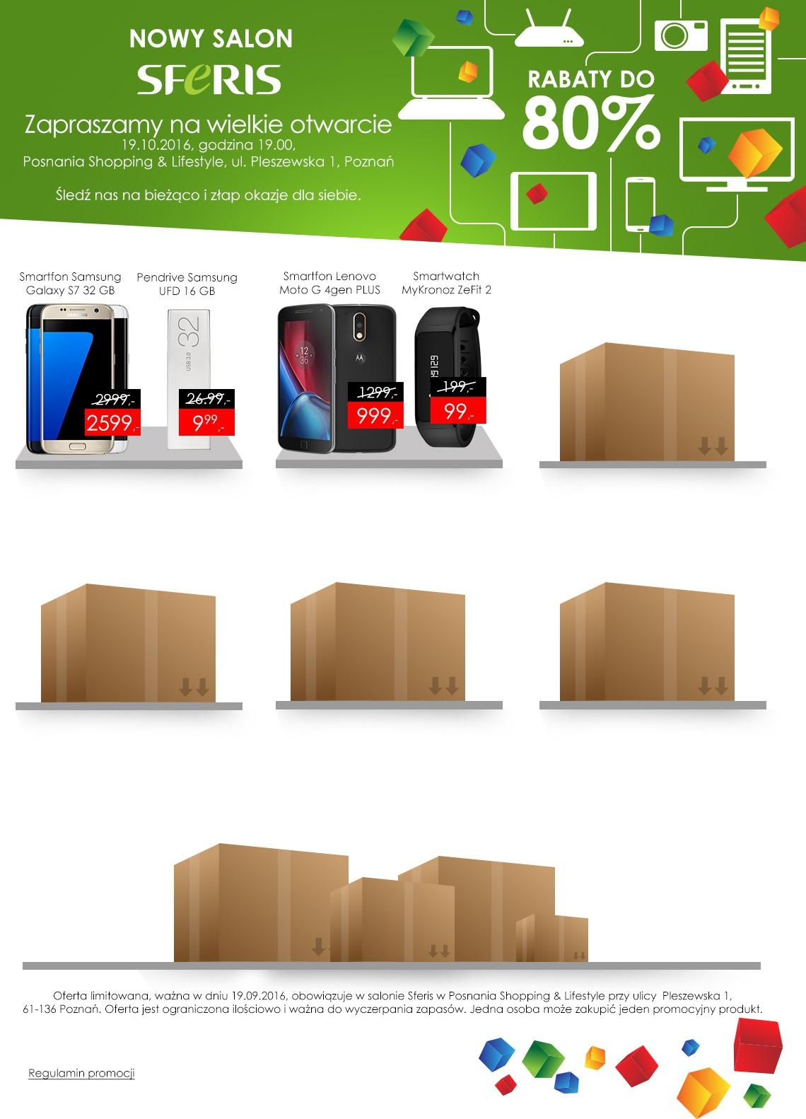 Pendrive Samsung 16GB za 9,99zł, Lenovo Moto G4 Plus za 999zł, MyKronoz ZeFit 2 za 99zł i inne @ Sferis (Poznań)