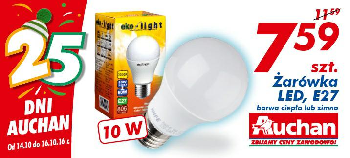 Żarówka LED E27 barwa ciepła lub zimna 10W szt @Auchan
