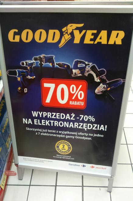 Wyprzedaż -70% na elektronarzędzia Goodyear @Carrefour