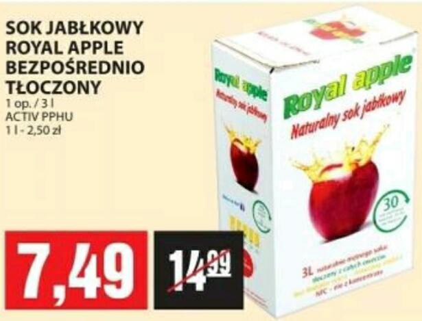 Sok Royal Apple bezpośrednio tłoczony 3l 7.49zł PIOTR I PAWEŁ