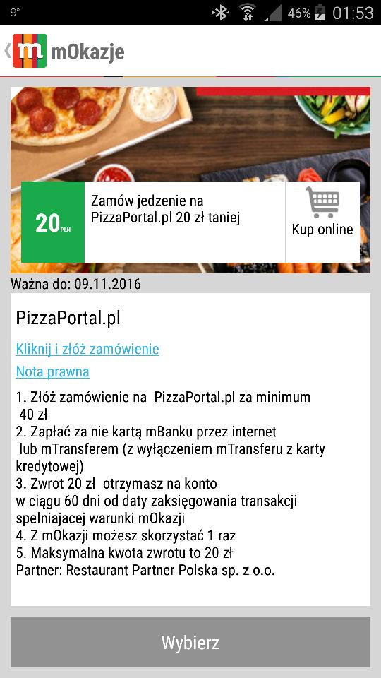 mBank mOkazje 20zł zwrotu za zamówienie 40zł na pizzaportal.pl