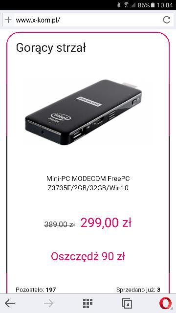 MODECOM FreePC Z3735F/2GB/32GB/Win10 gorący strzał @xkom