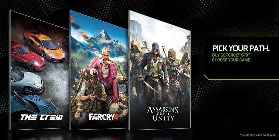 Najnowsze gry Ubisoftu za DARMO (The Crew, Far Cry 4 lub Assassin's Creed Unity) - z kartami GTX @ Nvidia