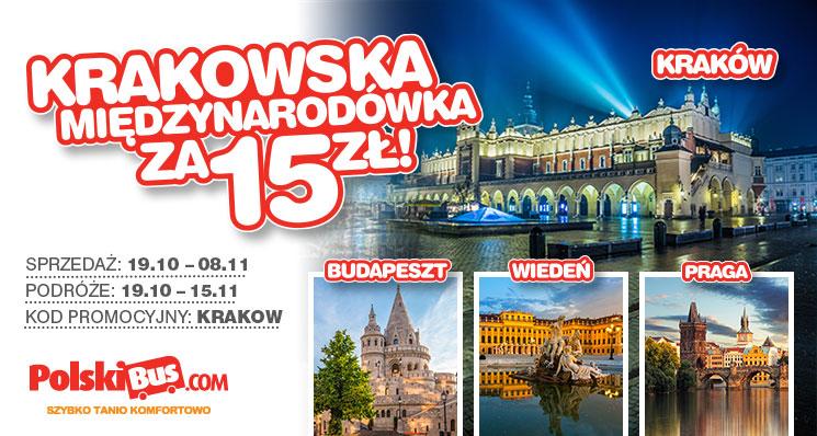 Polski Bus, Kraków -Praga, Budapeszt, Wiedeń 15 zł + 1zł (opłata rezerwacyjna)