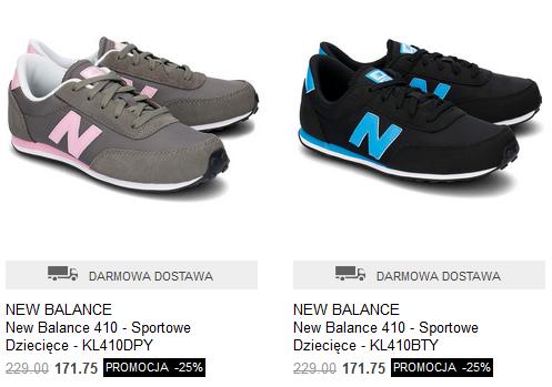 Buty New Balance 410 (kilka kolorów) za 171,75zł + dostawa gratis (-25% na markę) @ Mivo