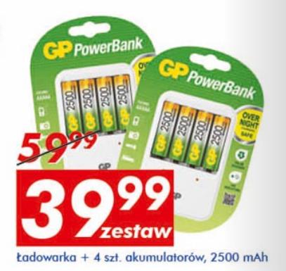 Ładowarka i 4 akumulatory GP Power Bank, 2500mAh za 39,99zł @ Auchan
