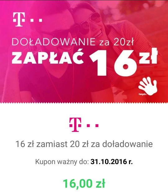 QPONY: Doładowanie T-Mobile 20zł za 16zł