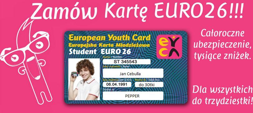 Karta Euro26 do lat 30 ubezpieczenie i zniźki