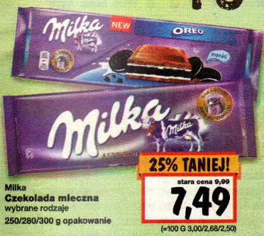 Czekolada Milka duża 300g 7.49 zł KAUFLAND
