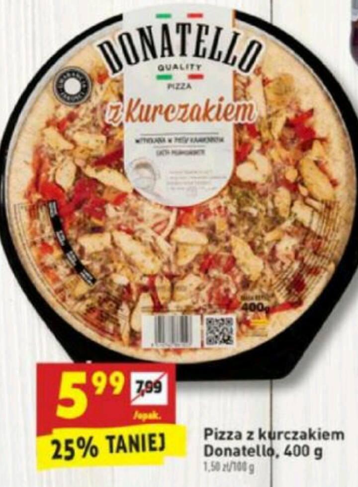 Pyszna Pizza Donatello z Kurczakiem (bez chemii) 400g 5.99zł BIEDRONKA