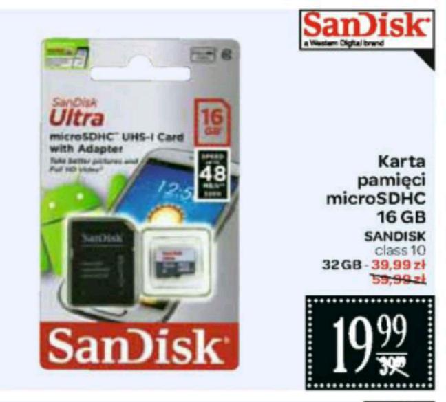 Karta pamięi SanDisk Ultra microSDHC 16GB/32GB @Carrefour