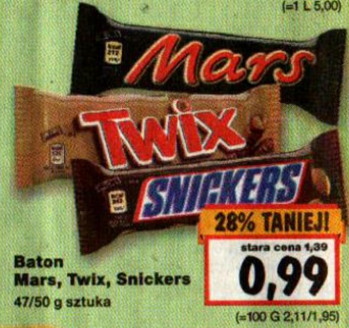 Baton Mars/Twix/Snickers 47/50g 0.99 zł KAUFLAND