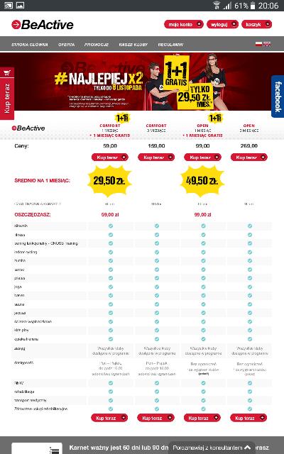 Oferta dla studentów i uczniów - karnet beactive od 29,50zl za miesiąc