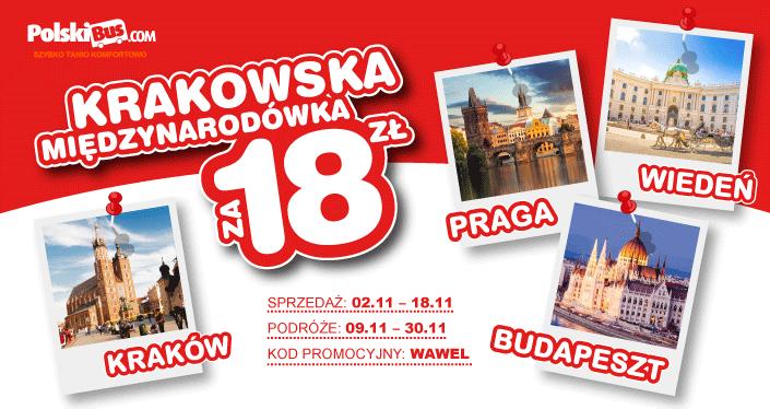Polski Bus, Kraków- Praga/Budapeszt/Wiedeń, 18 zł + 1 zł (opłata rezerwacyjna)