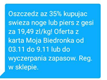 Oszczędź aż 35% kupując świeżą nogę lub pierś z gęsi za 19.49 zł/kg @Biedronka