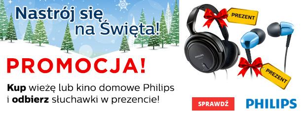 Sluchawki w prezencie za zakup wieży audio lub kina domowego marki Phillips @ Neonet/Neo24