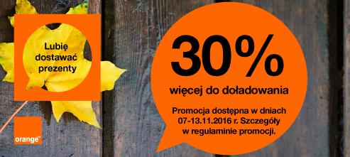 Extra 30% za doładowanie przez Internet @ Orange
