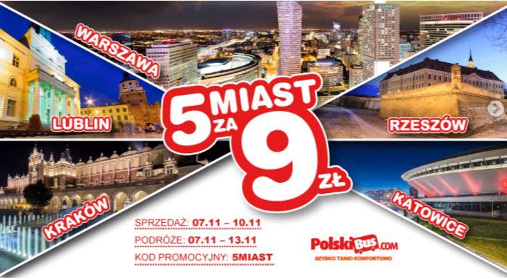 Polskibus, 5 miast za 9zł