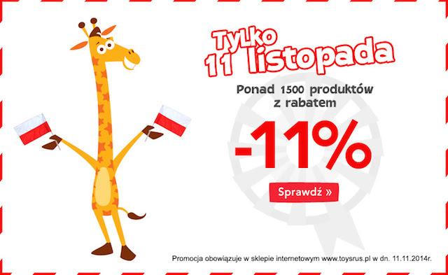 -11% na 11 listopada - 1500 produktów w sklepie internetowym @ Toys'R'us