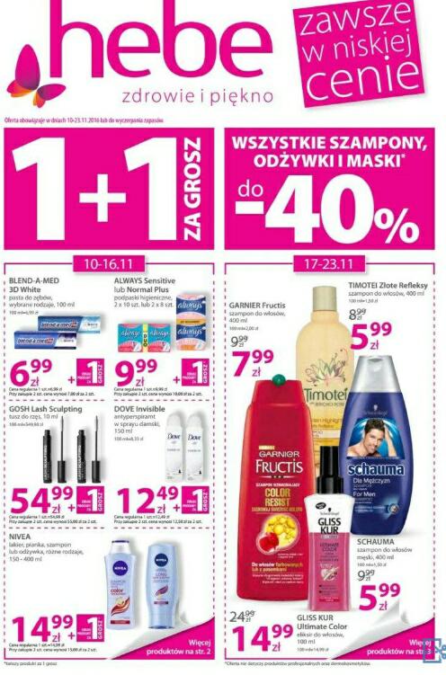 1+1 za grosz i wszystkie szampony,odżywki i maski do -40% @Hebe