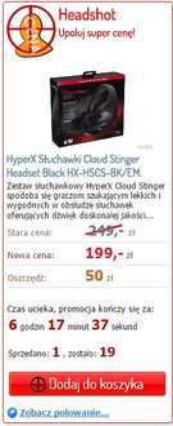 Słuchawki HyperX Cloud Stinger 20% taniej @ Proline