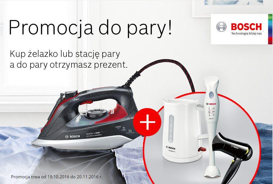 Żelazko lub stacja parowa Bosch + prezent za 1zł do wyboru (czajnik, blender, suszarka) - komplet od 78,70zł! @ Komputronik