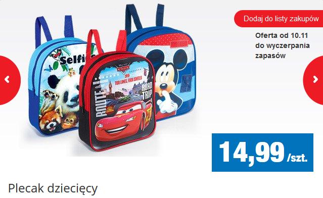 Dziecięcy plecak z bajkowym motywem za 14,99zł @ Biedronka