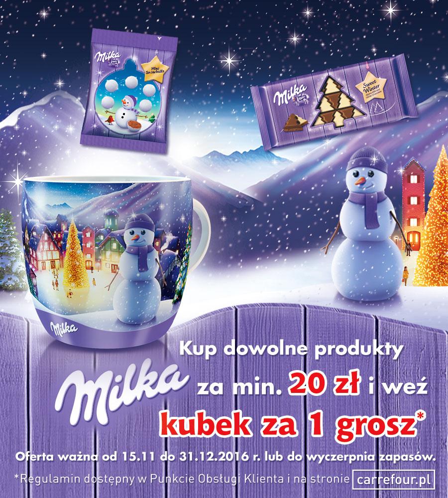 Kubek za 1grosz przy zakupie produktów Milka za 20zł @ Carrefour/Tesco