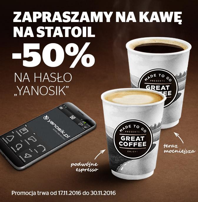 """Kawa tańsza o połowę na hasło """"Yanosik"""" @ Statoil"""