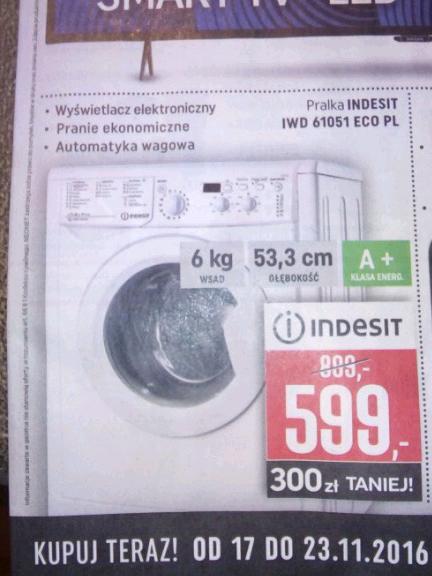 pralka indesit iswd 61252 automat za 599zł @ Neonet (Wschowa)