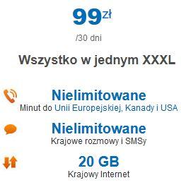 Lycamobile pakiet XXXL do UE, Kanady i USA oraz 100min na Ukrainę