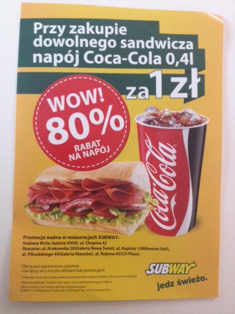 Napój za 1zł przy zakupie dowolnej kanapki @ Subway (Rzeszów, Stalowa Wola)