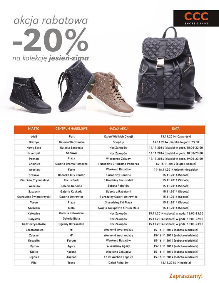20% rabatu na kolekcje Jesień-Zima (Wybrane sklepy w całej Polsce, w ten weekend!) @ CCC